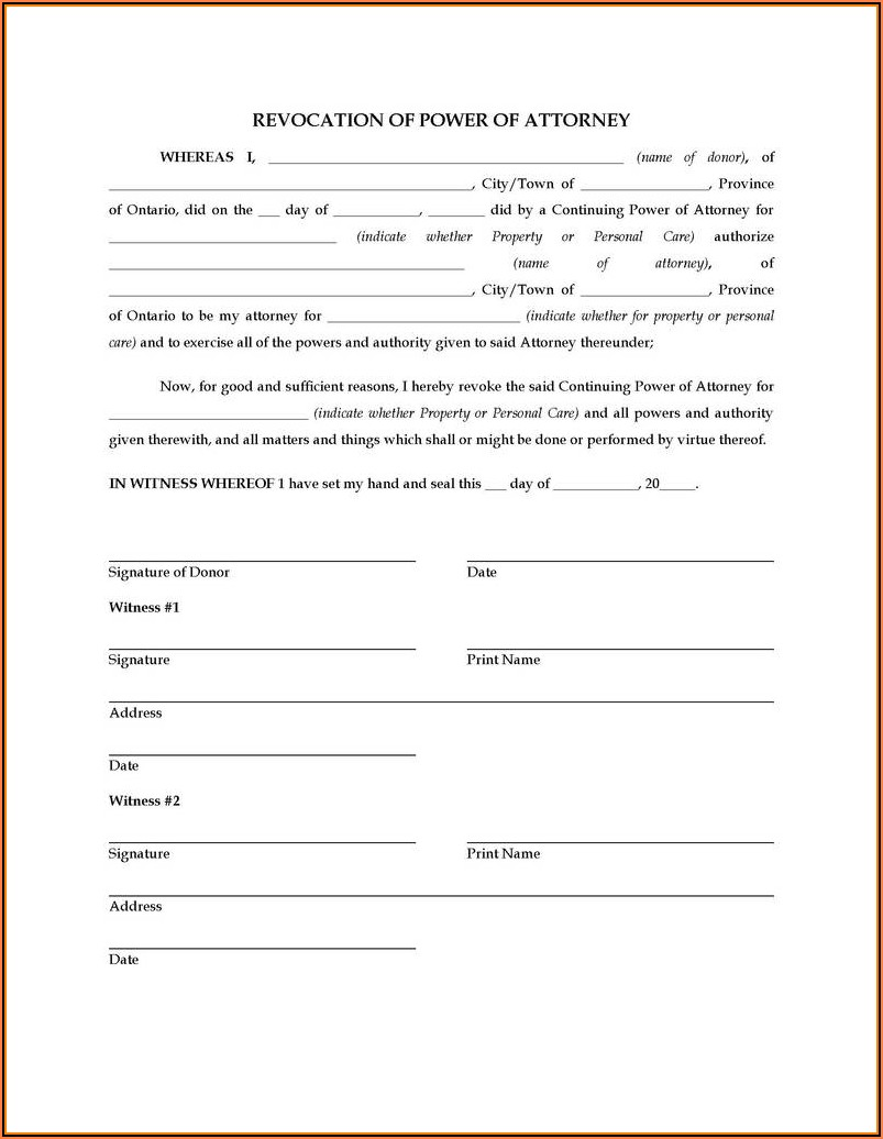 Fillable Power Of Attorney Form Ny