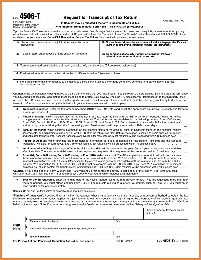 Form 4506 T Mortgage Application