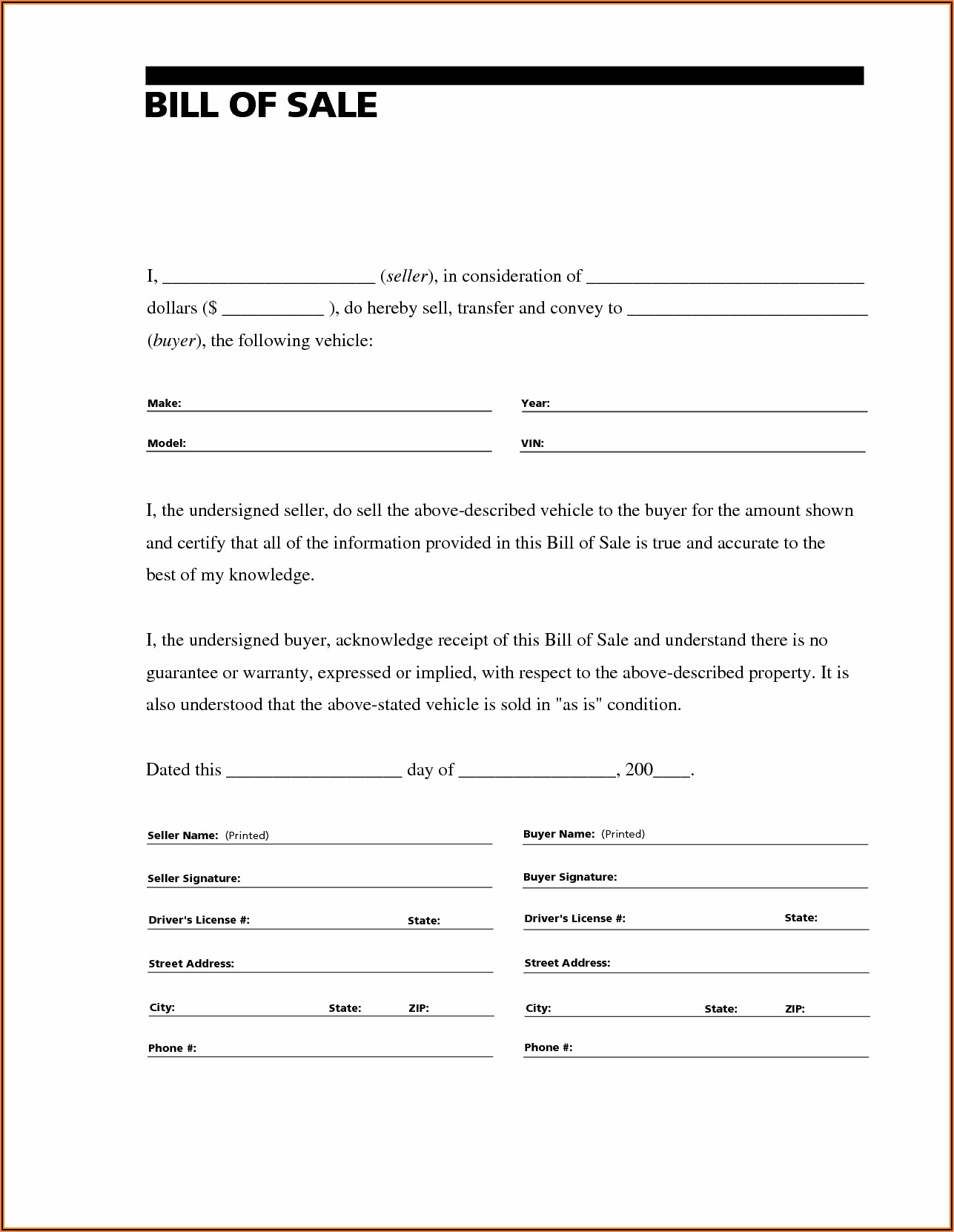 Free Bill Of Sale Form For Rv