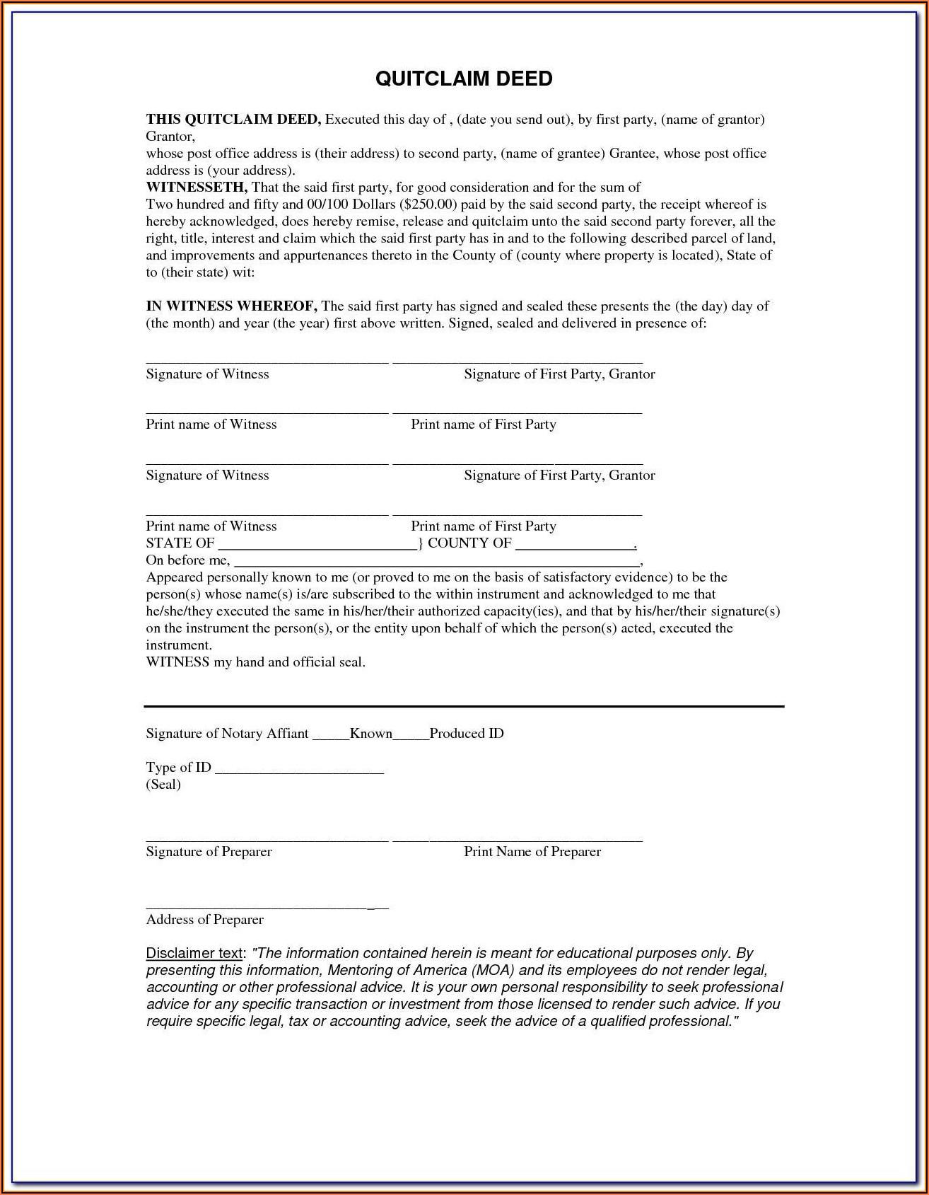 Free Blank Quit Claim Deed Form Oklahoma