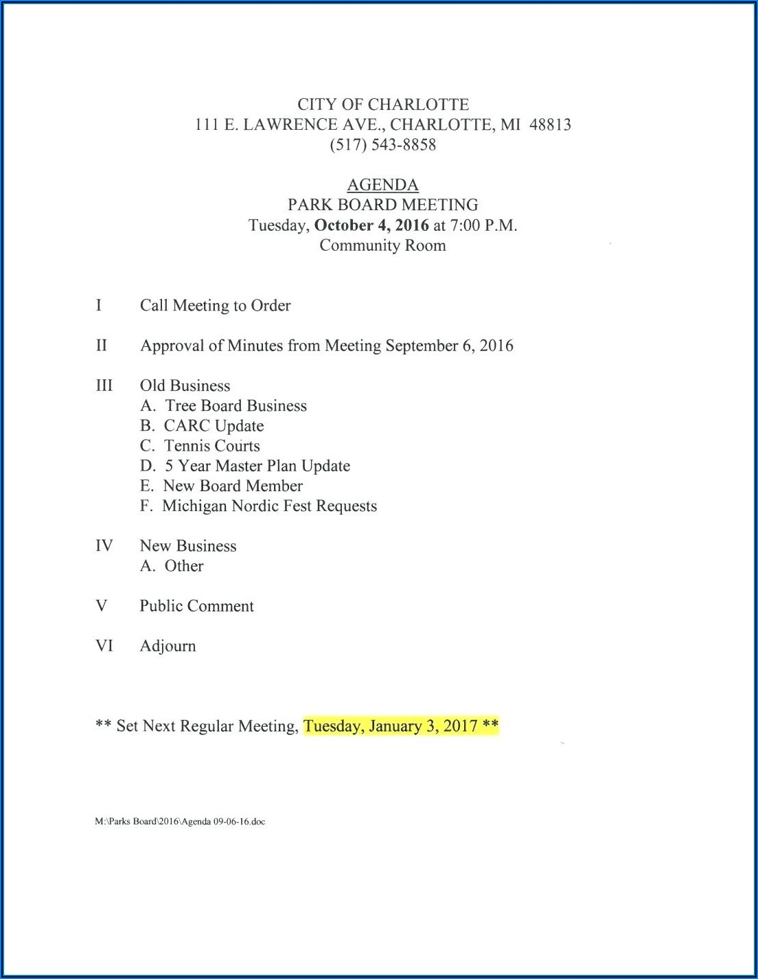 Free Board Meeting Agenda Template Word