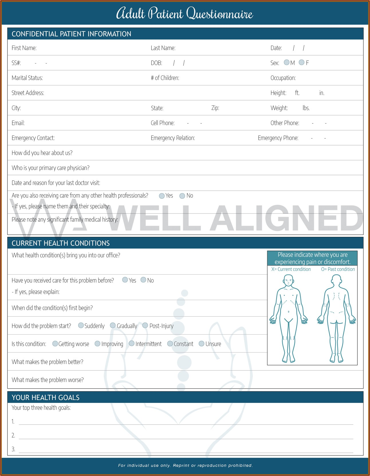 Free Chiropractic Intake Forms