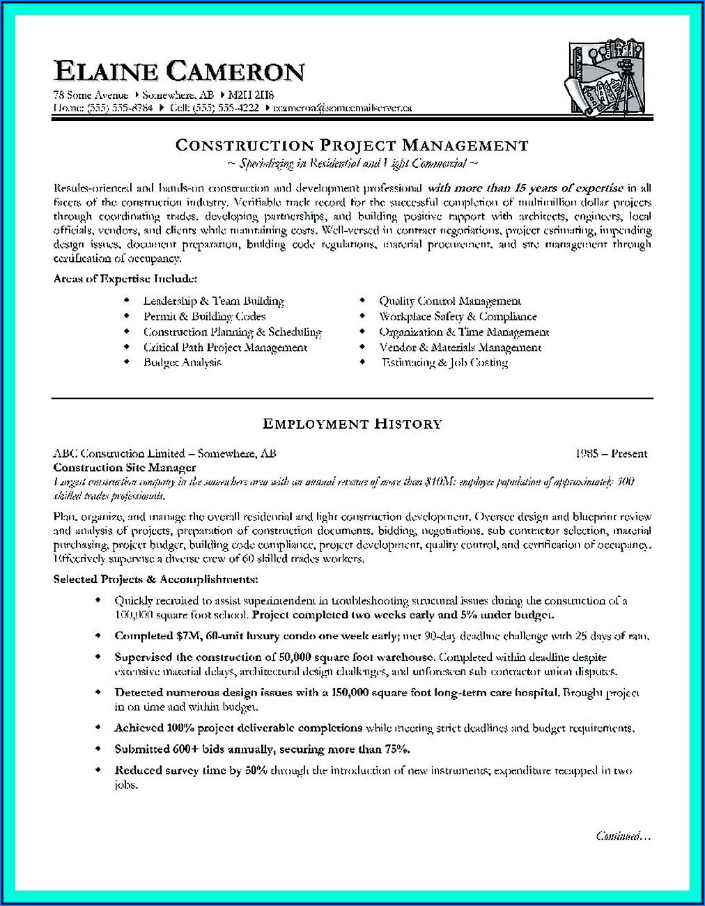 Free Construction Management Resume Templates