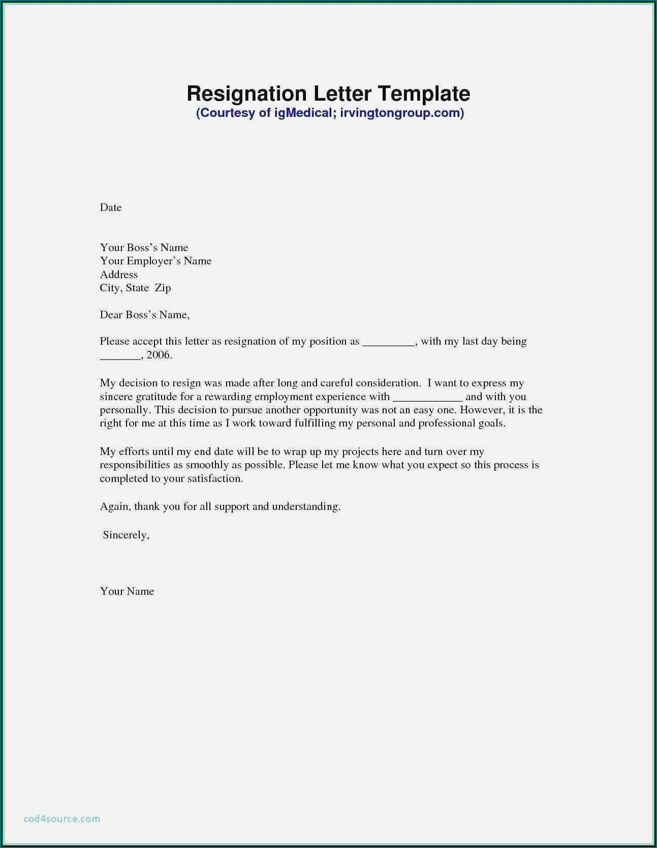 Free Downloadable Resignation Letter Template