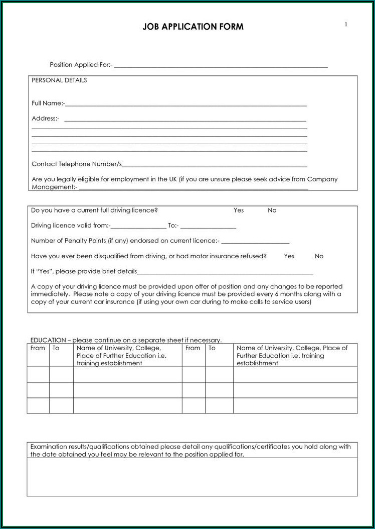 Free Employment Form Template