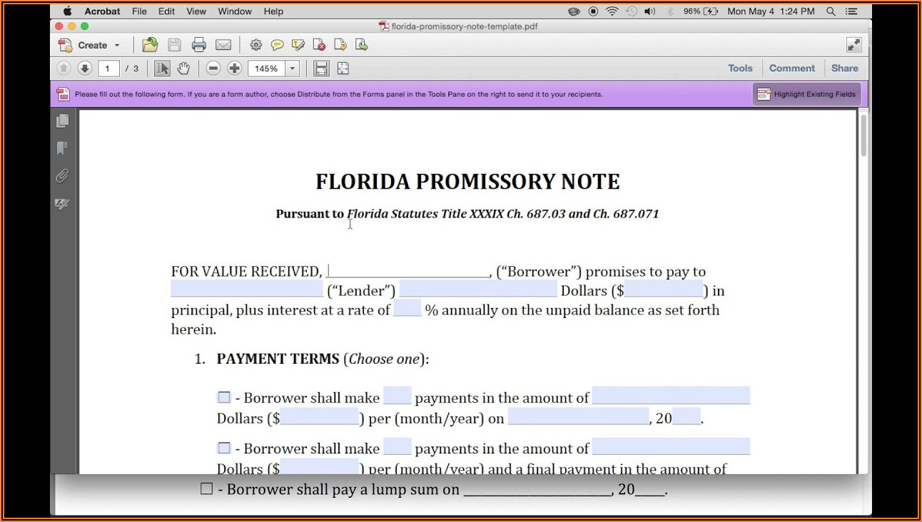 Free Florida Secured Promissory Note Form