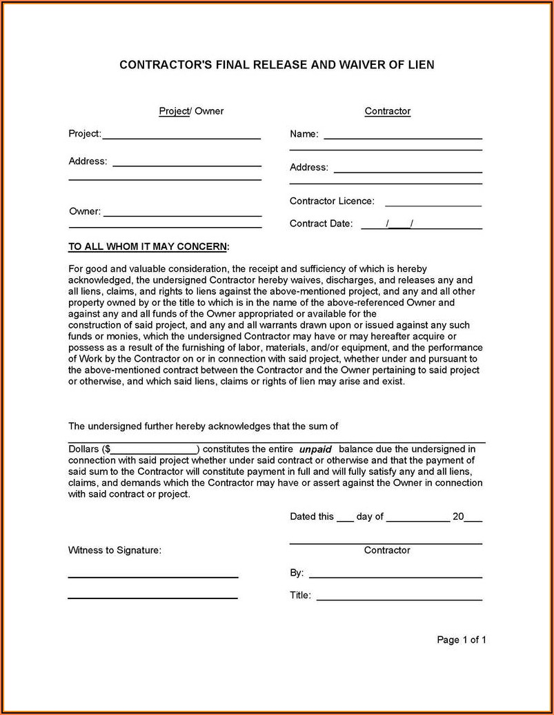 Free Lien Waiver Form