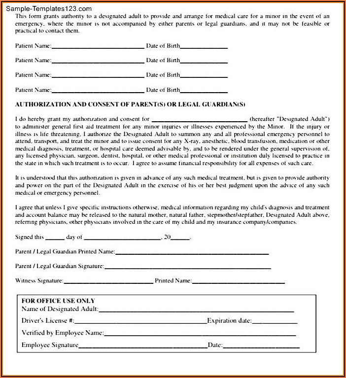 Free Medical Authorization Form For Minor Child