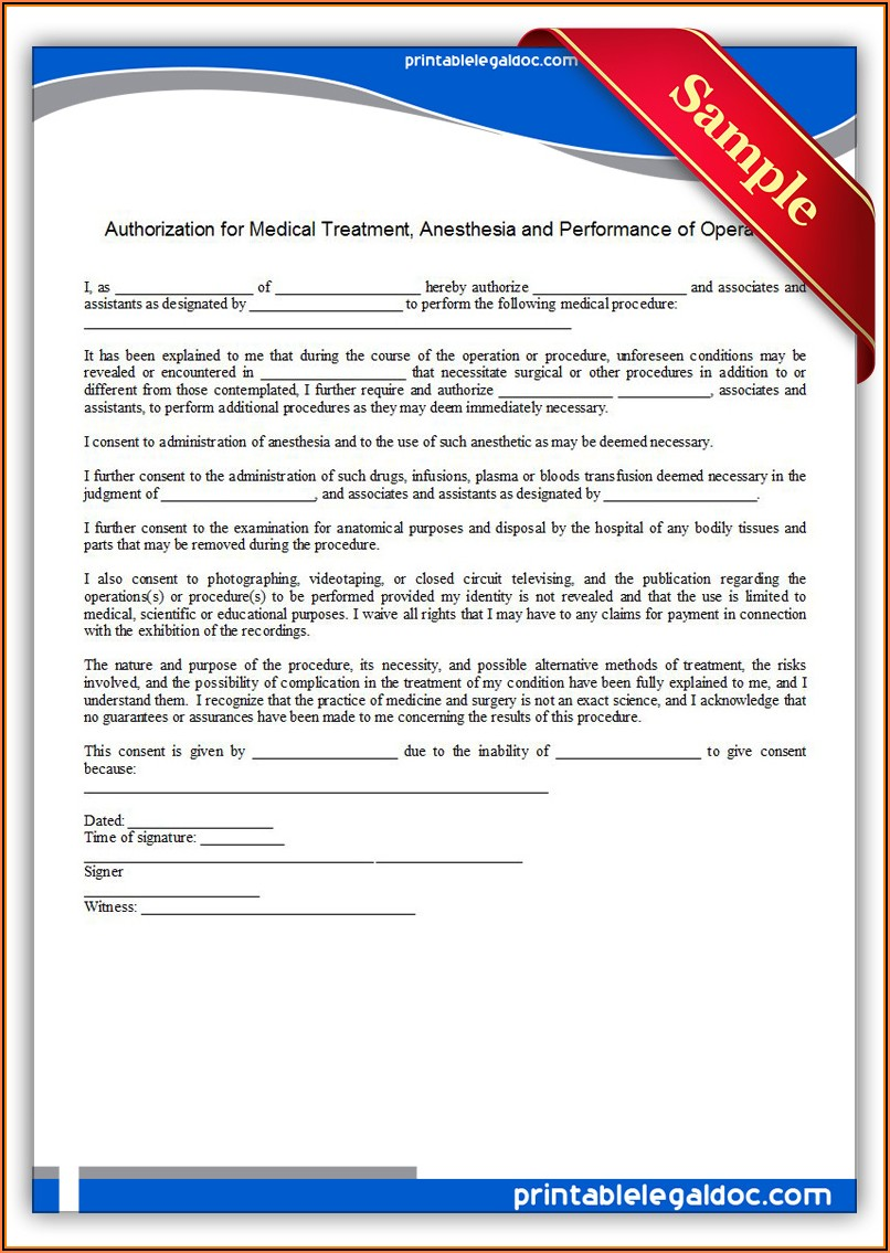 Free Medical Authorization Form