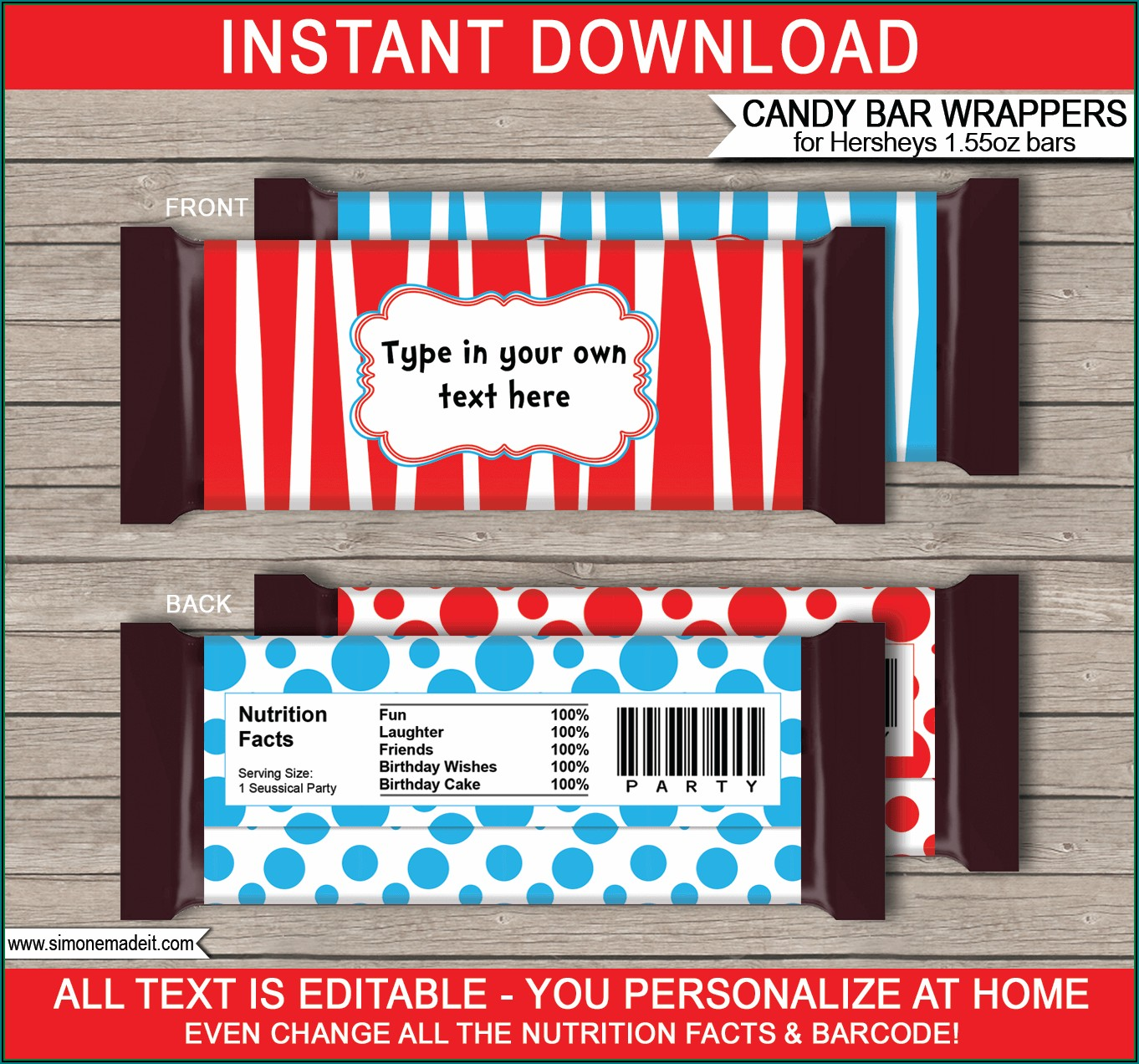 Free Personalized Chocolate Bar Wrappers Template