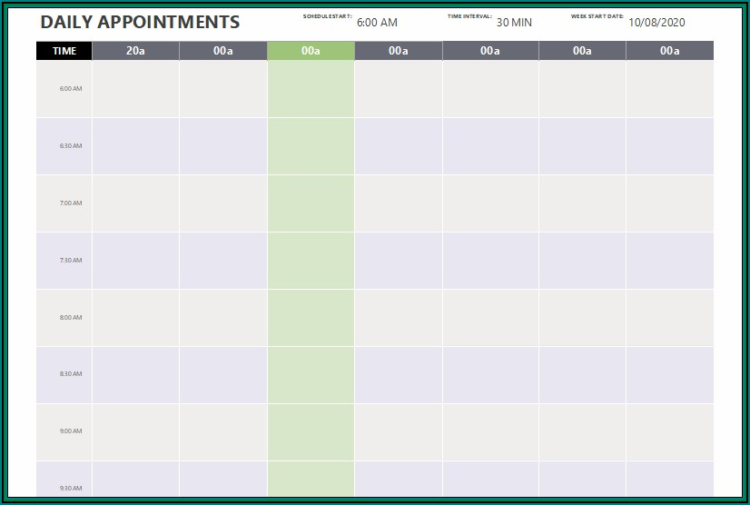 Free Printable Appointment Scheduling Template