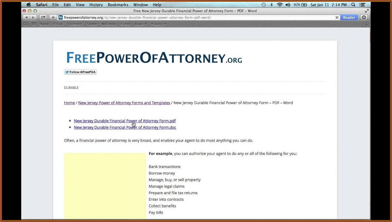 Free Printable Durable Power Of Attorney Form Nj