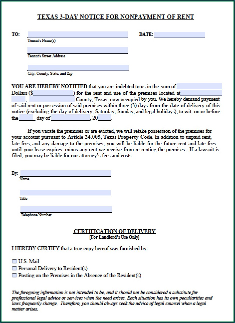 Free Printable Eviction Notice Template Texas