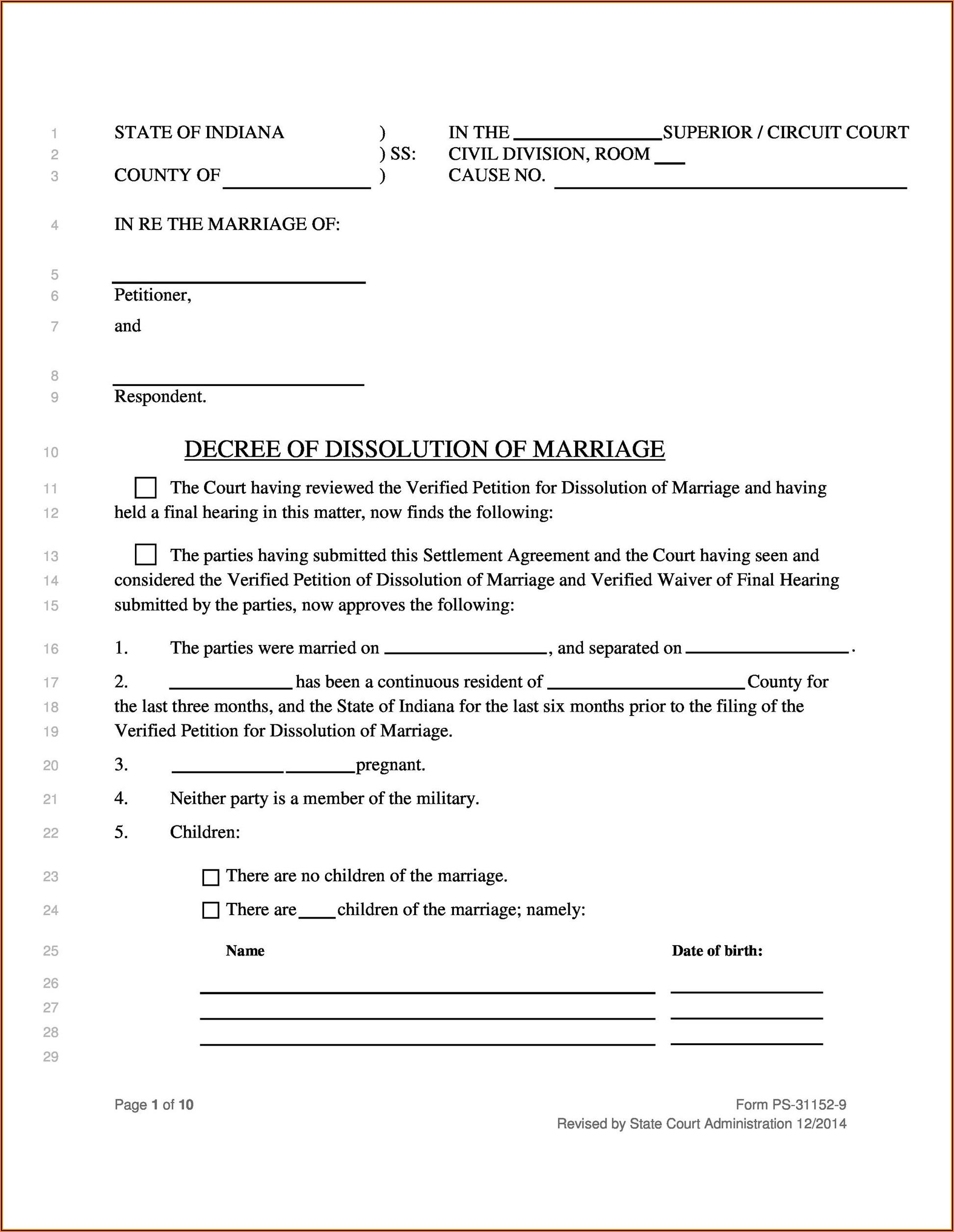 Free Printable No Fault Divorce Forms Mississippi