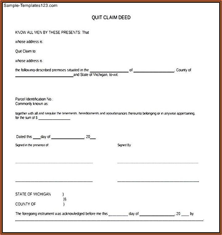 Free Printable Quit Claim Deed Form Michigan