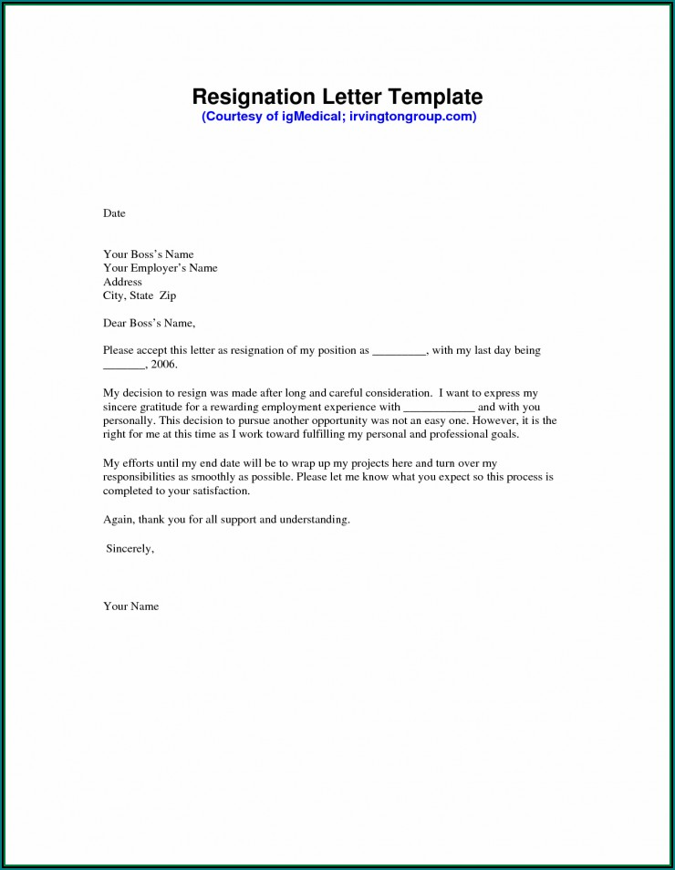 Free Resignation Template Download