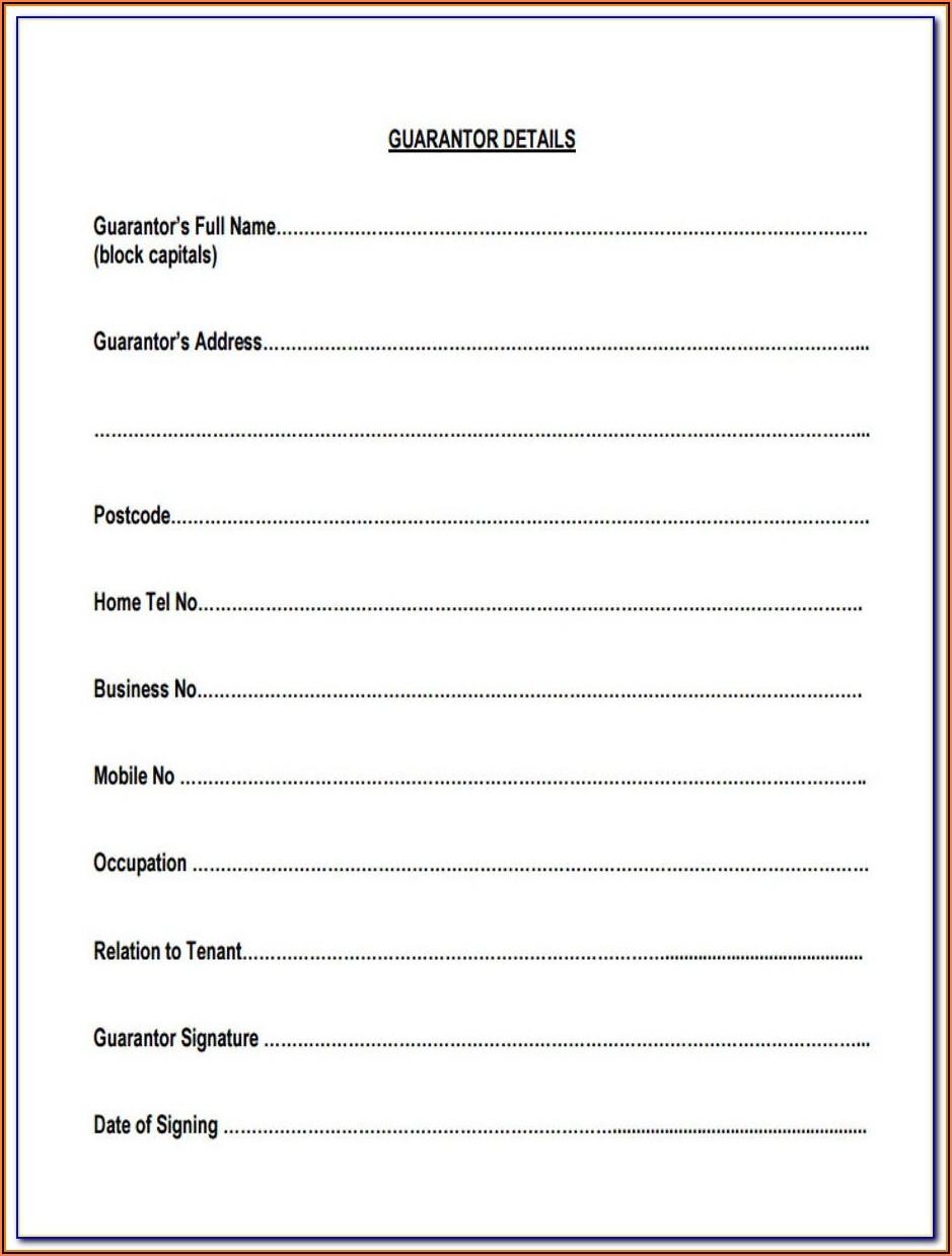 Free Sample Of Employee Guarantor Form