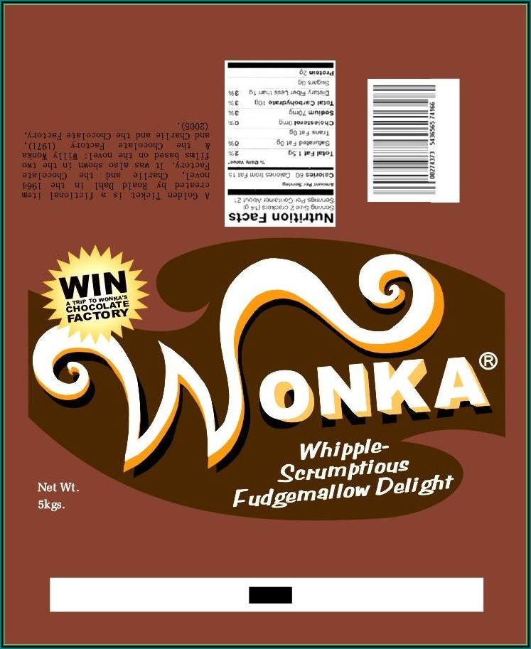 Free Wonka Chocolate Bar Wrapper Template