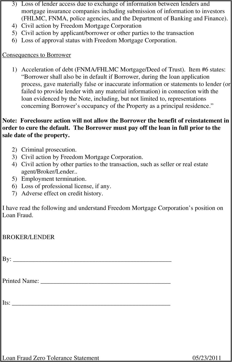 Freedom Mortgage Loan Modification Forms