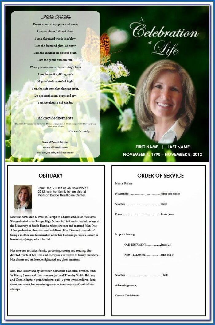 Funeral Programs Templates Word