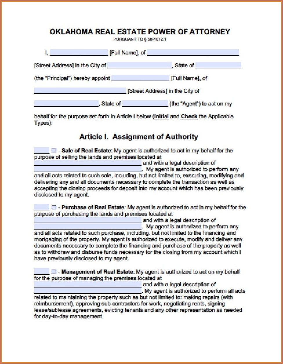 General Power Of Attorney Oklahoma Form