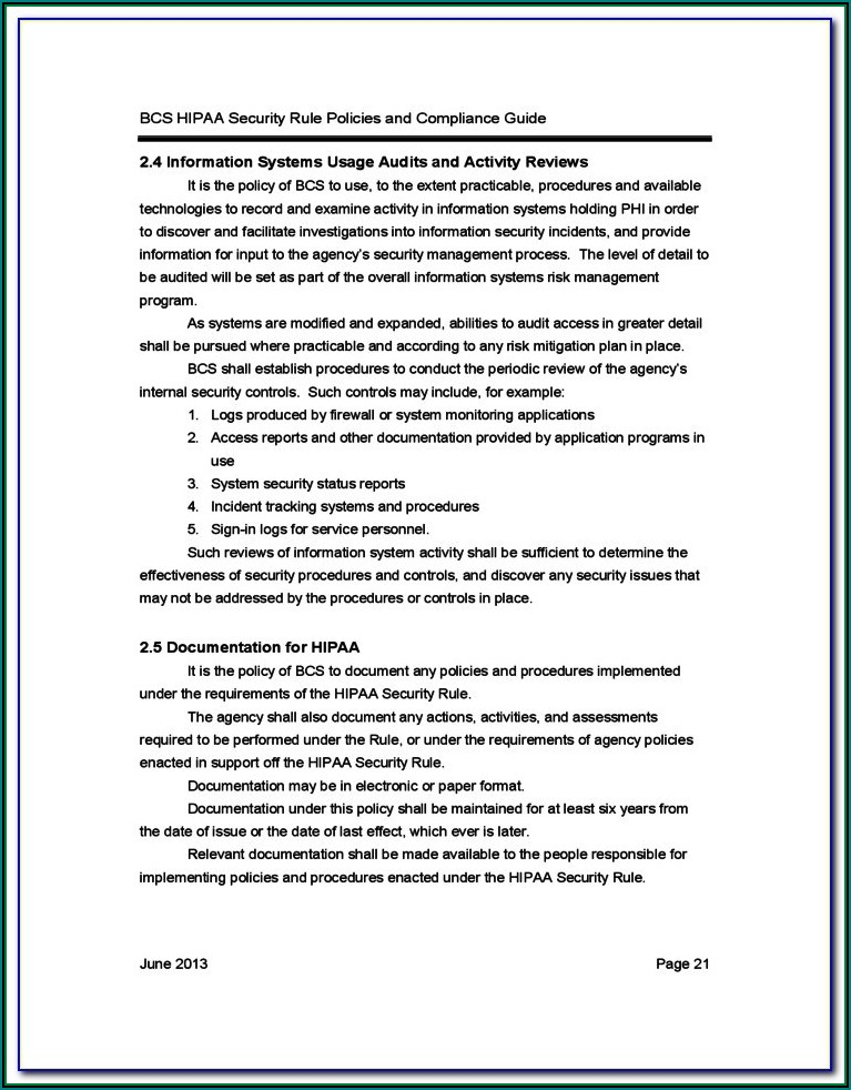 Hipaa Security Rule Policy Template