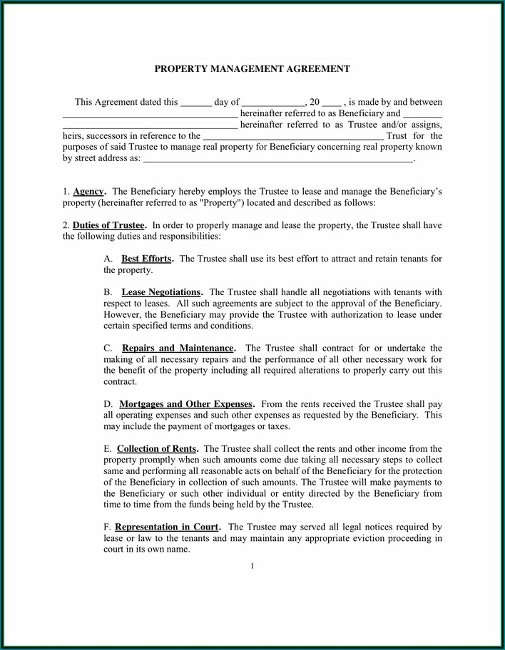 Hoa Agreement Template