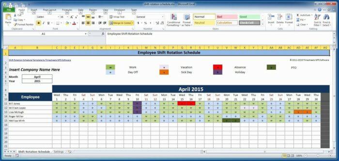 Hourly Employee Schedule Template