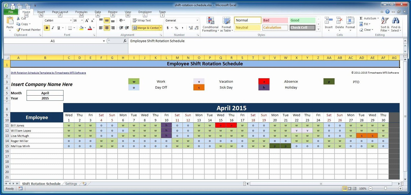 Hourly Employee Schedule Template