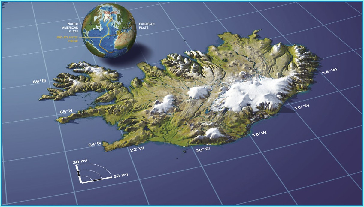 Iceland Relief Map