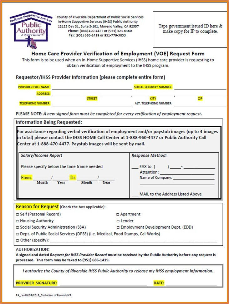 Ihss Provider Application Form Pdf
