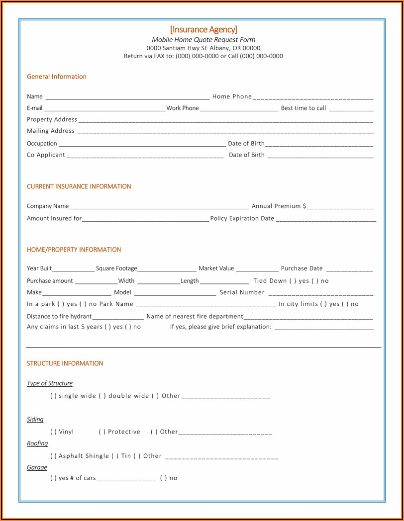 Insurance Quote Request Form Template