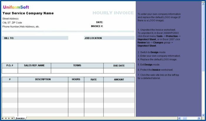 Interior Design Invoice Template Excel