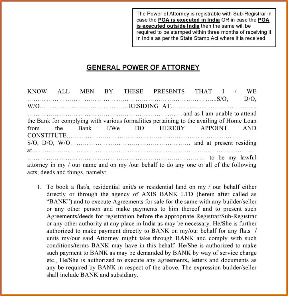 Irrevocable Power Of Attorney Format In Word