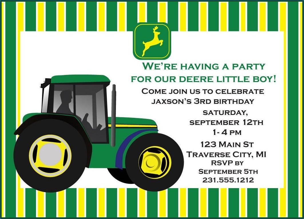 John Deere Birthday Invitation Templates