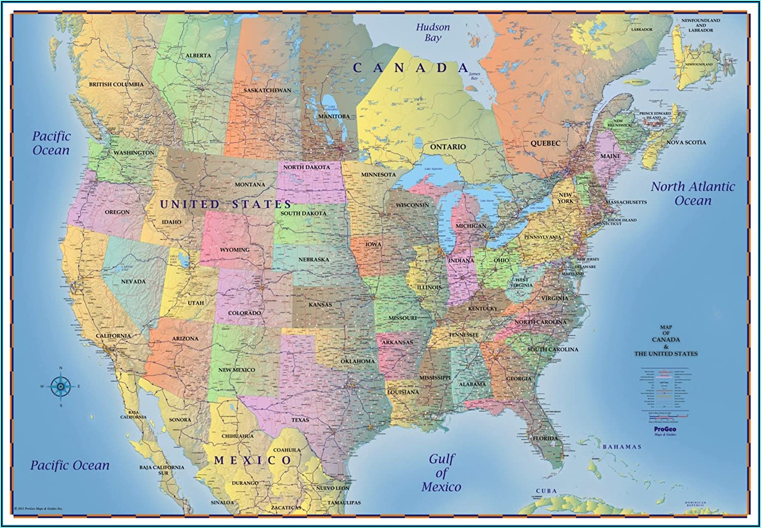 Laminated Wall Maps Of Usa
