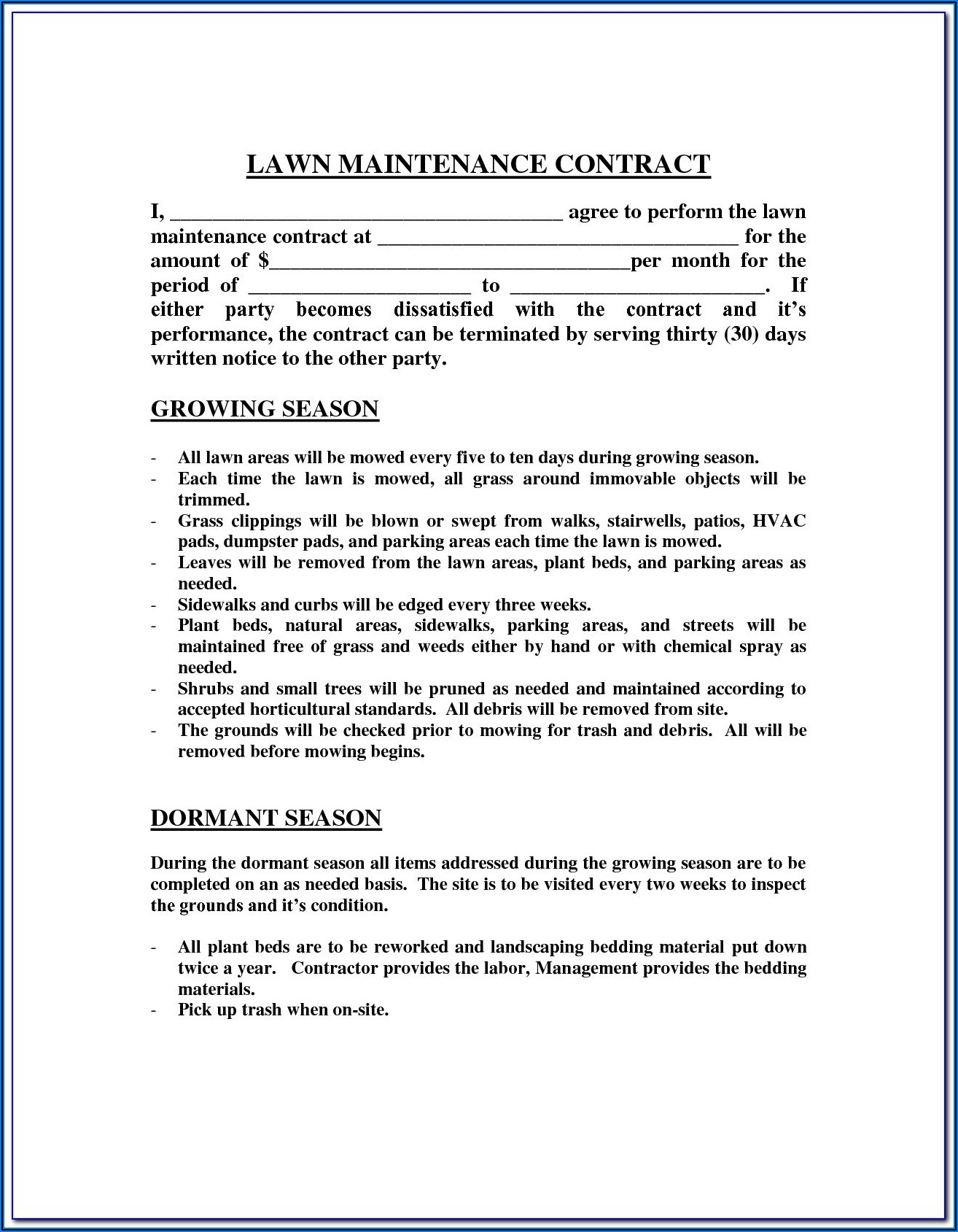 Lawn Cutting Contract Template