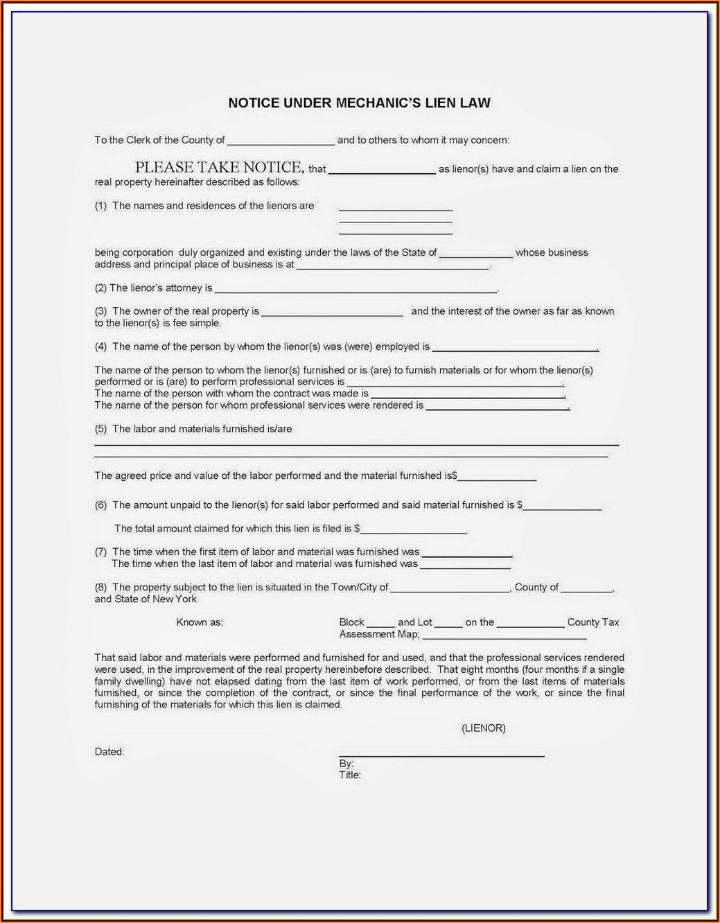 Lien Waiver Form Indiana