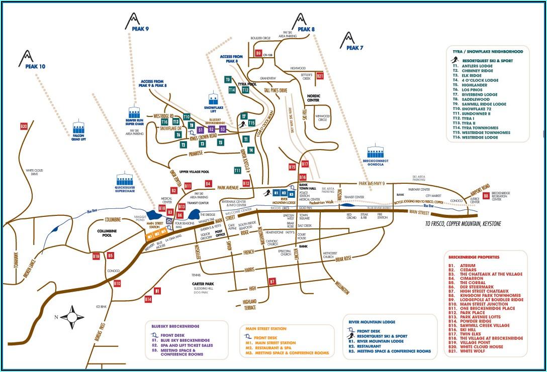 Map Of Breckenridge Colorado Lodging