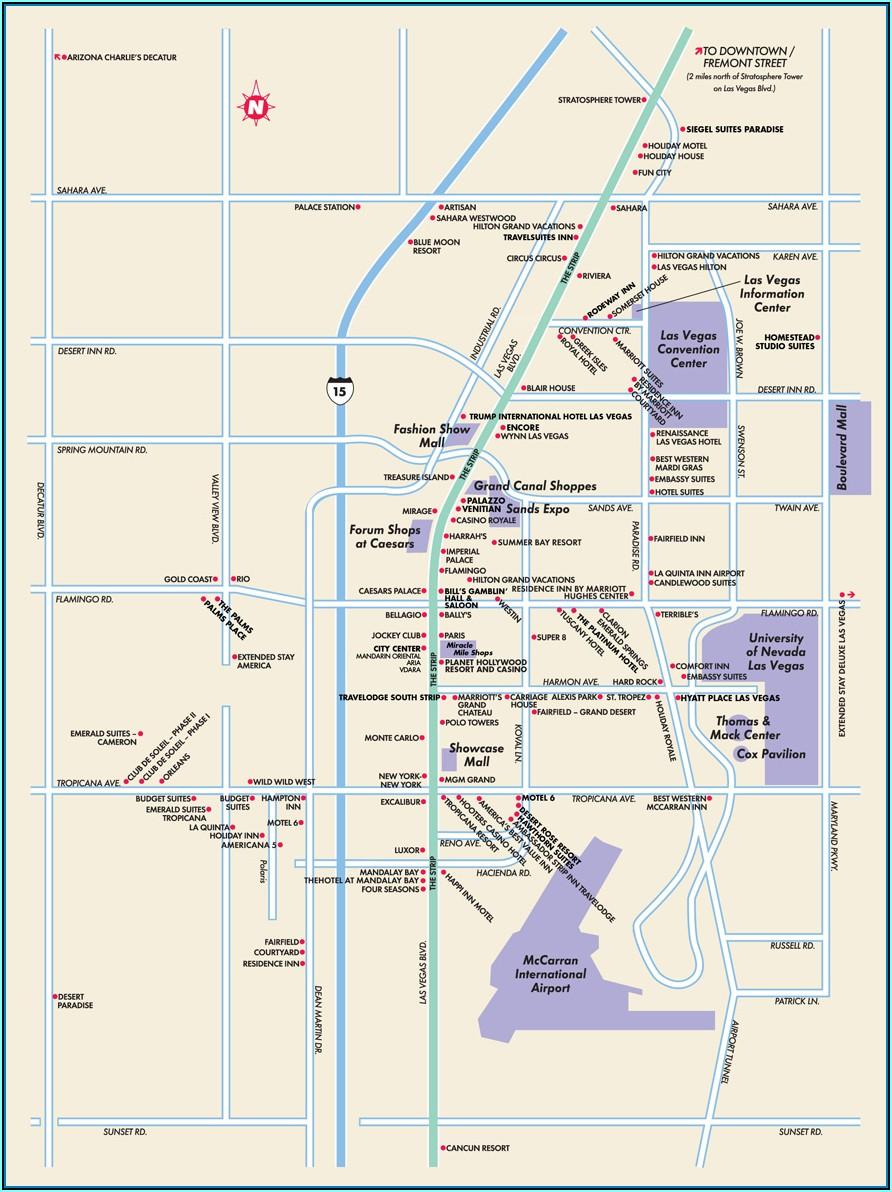Map Of Hilton Hotels On Las Vegas Strip