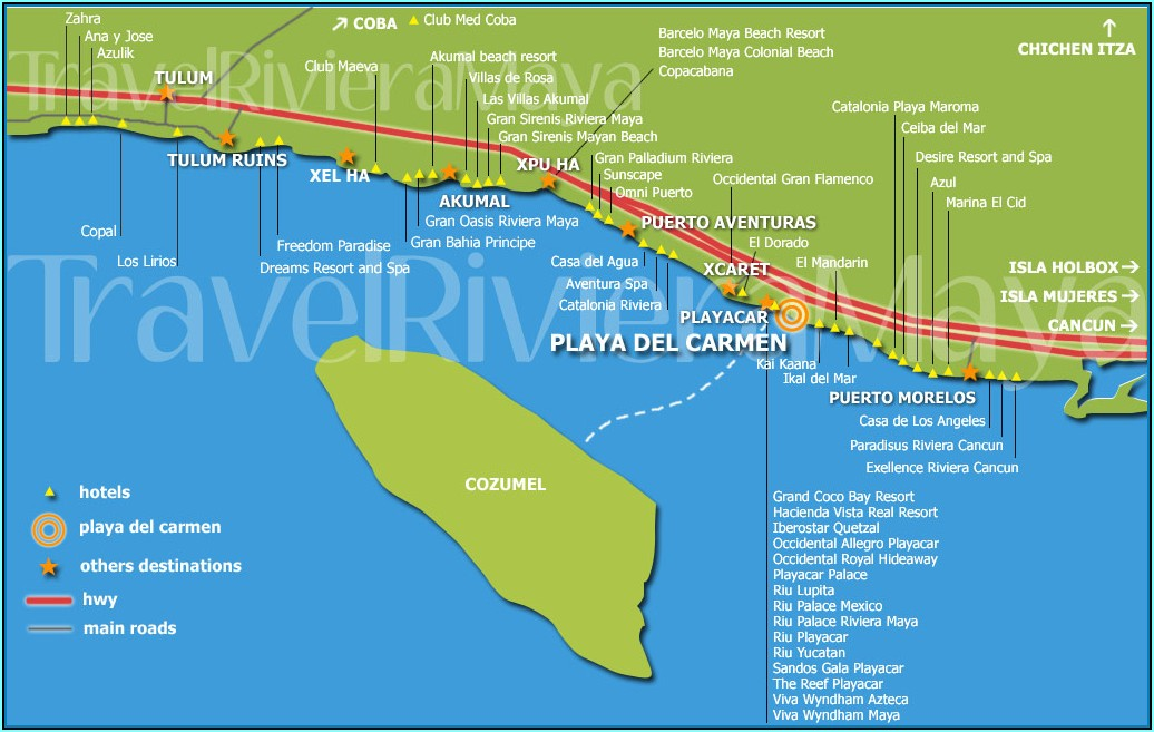 Map Of Hotel Zone Playa Del Carmen