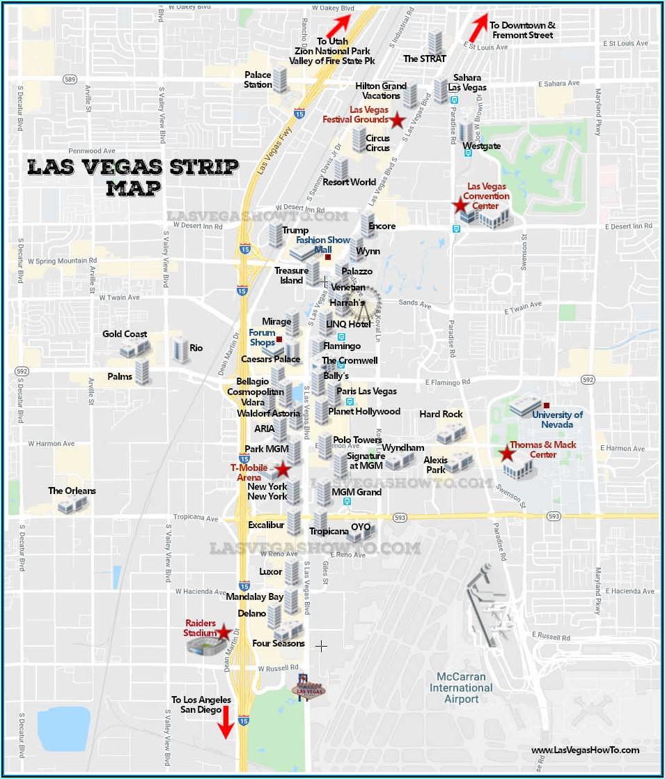 Map Of Hotels On Las Vegas Strip 2020