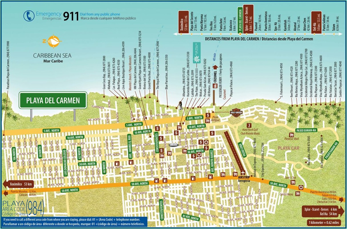 Map Of Playa Del Carmen Hotels And Resorts