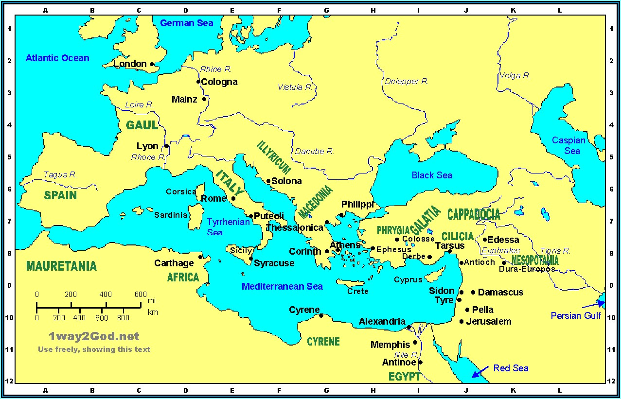Map Of The Holy Lands In The Old Testament Times