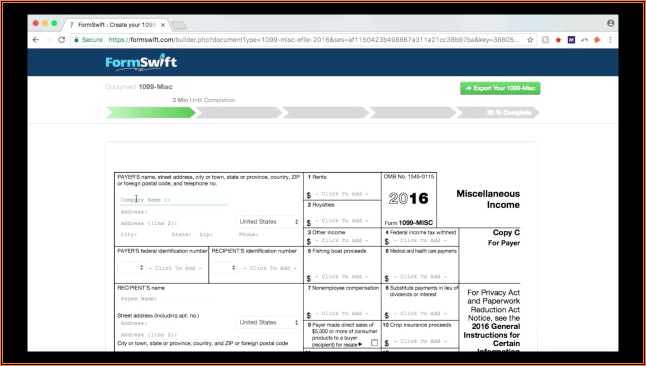 Misc 1099 Form Online