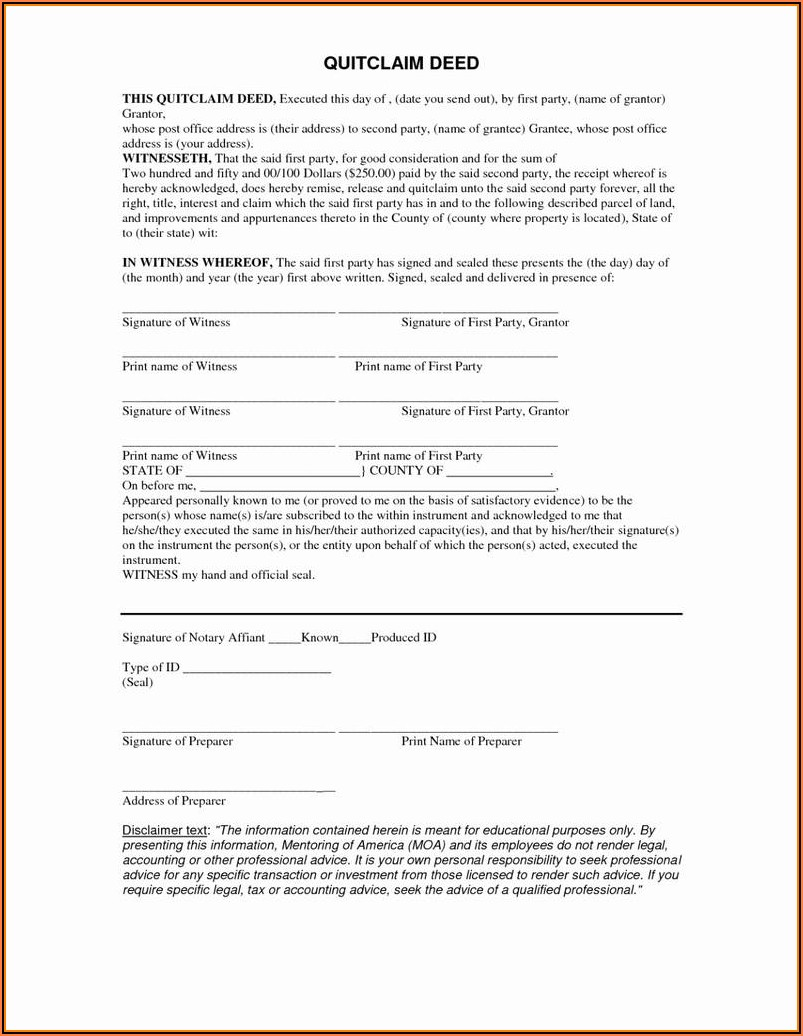Mo Quit Claim Deed Form