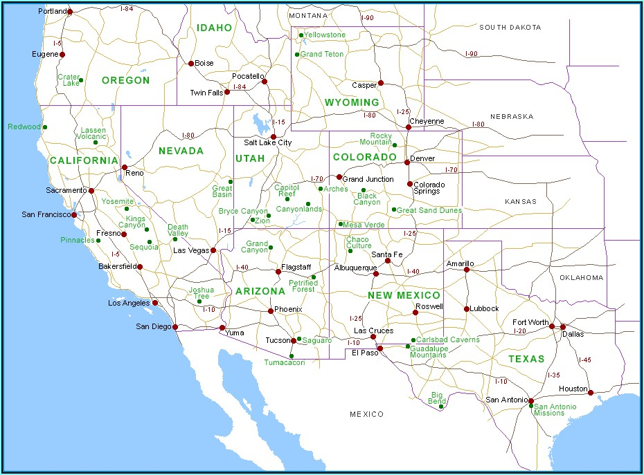 National Parks Southwest Usa Map