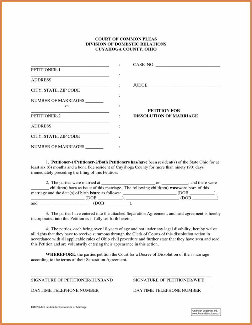 No Fault Divorce Forms Ohio