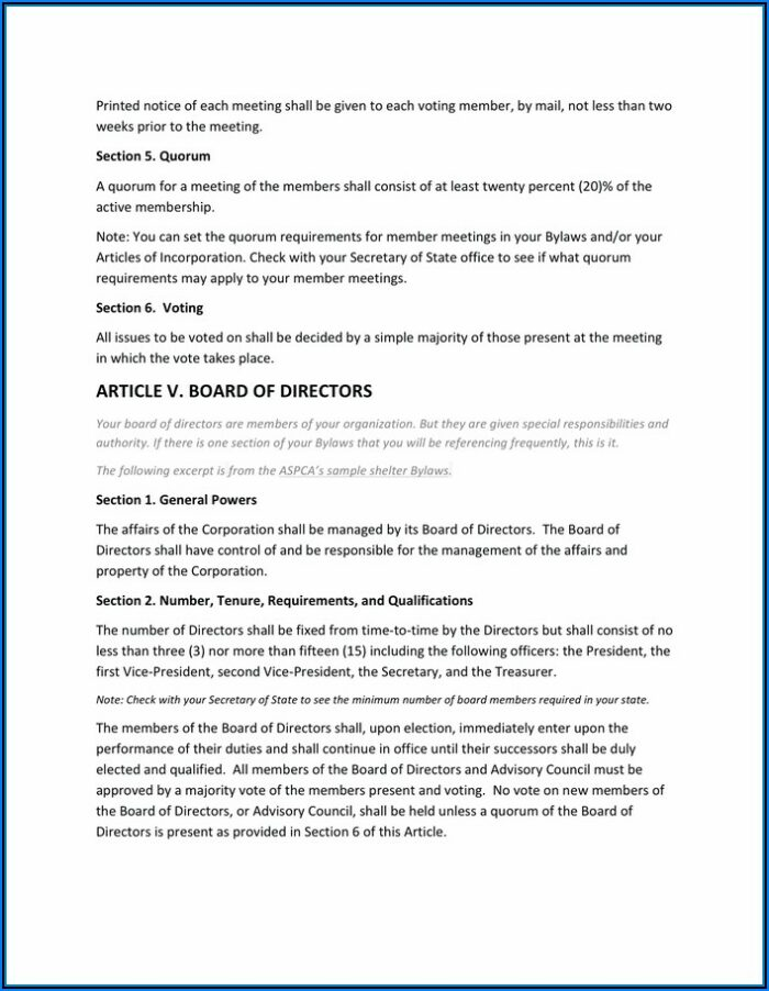 Nonprofit Corporation Bylaws Template