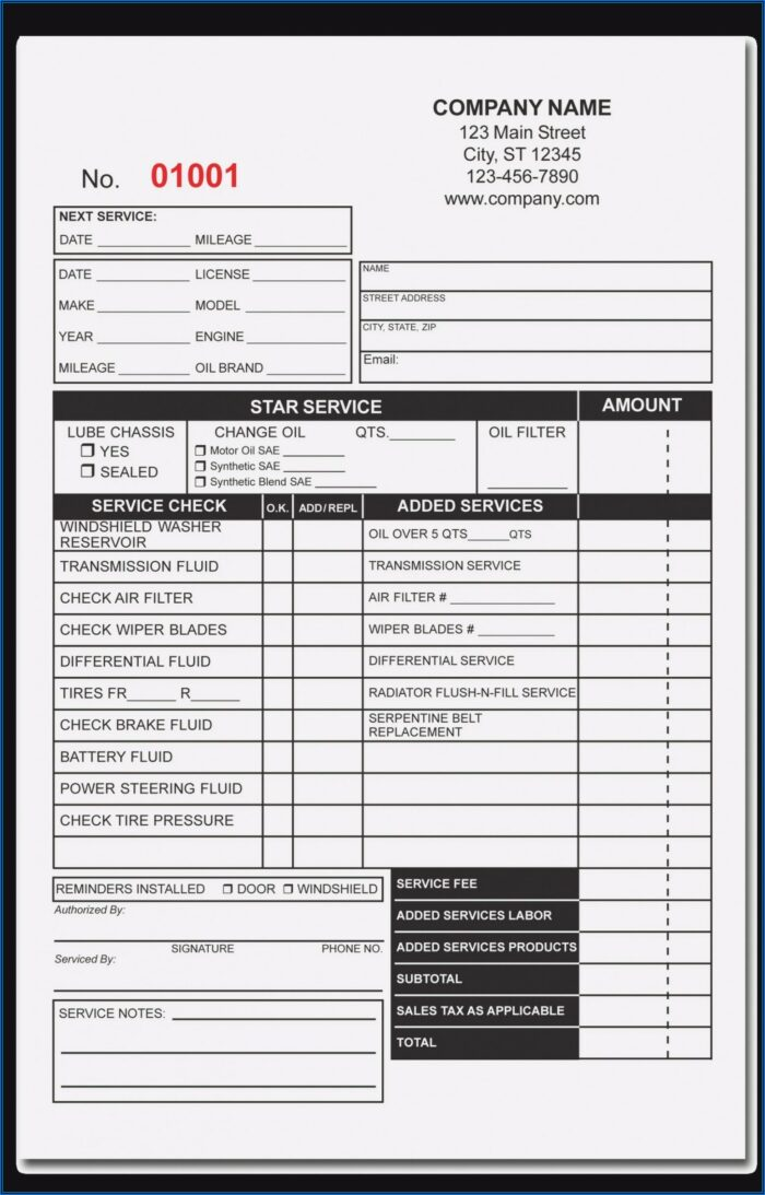 Oil Change Receipt Template